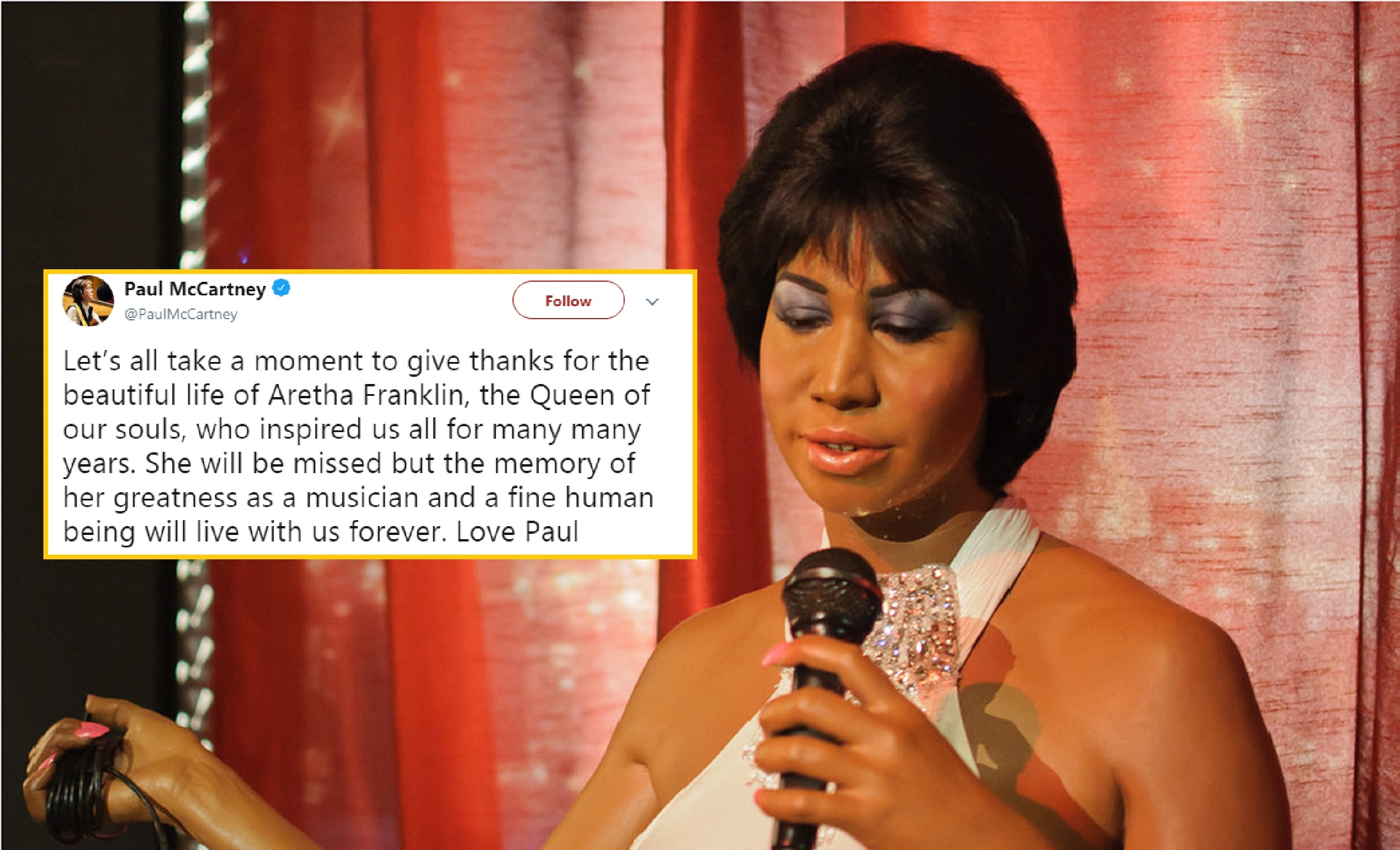 From Obama to Paul McCartney, here is how everyone reacted to Aretha Franklin's passing