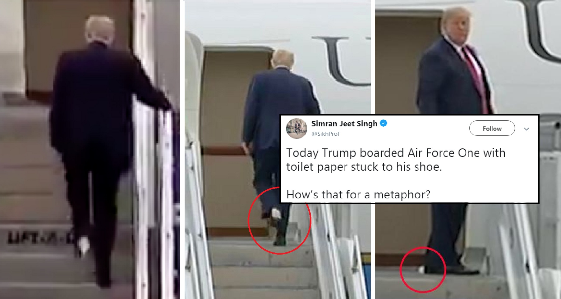Donald Trump Boarded Air Force One With Toilet Paper On His Shoe and The Internet Roasted Him For It!