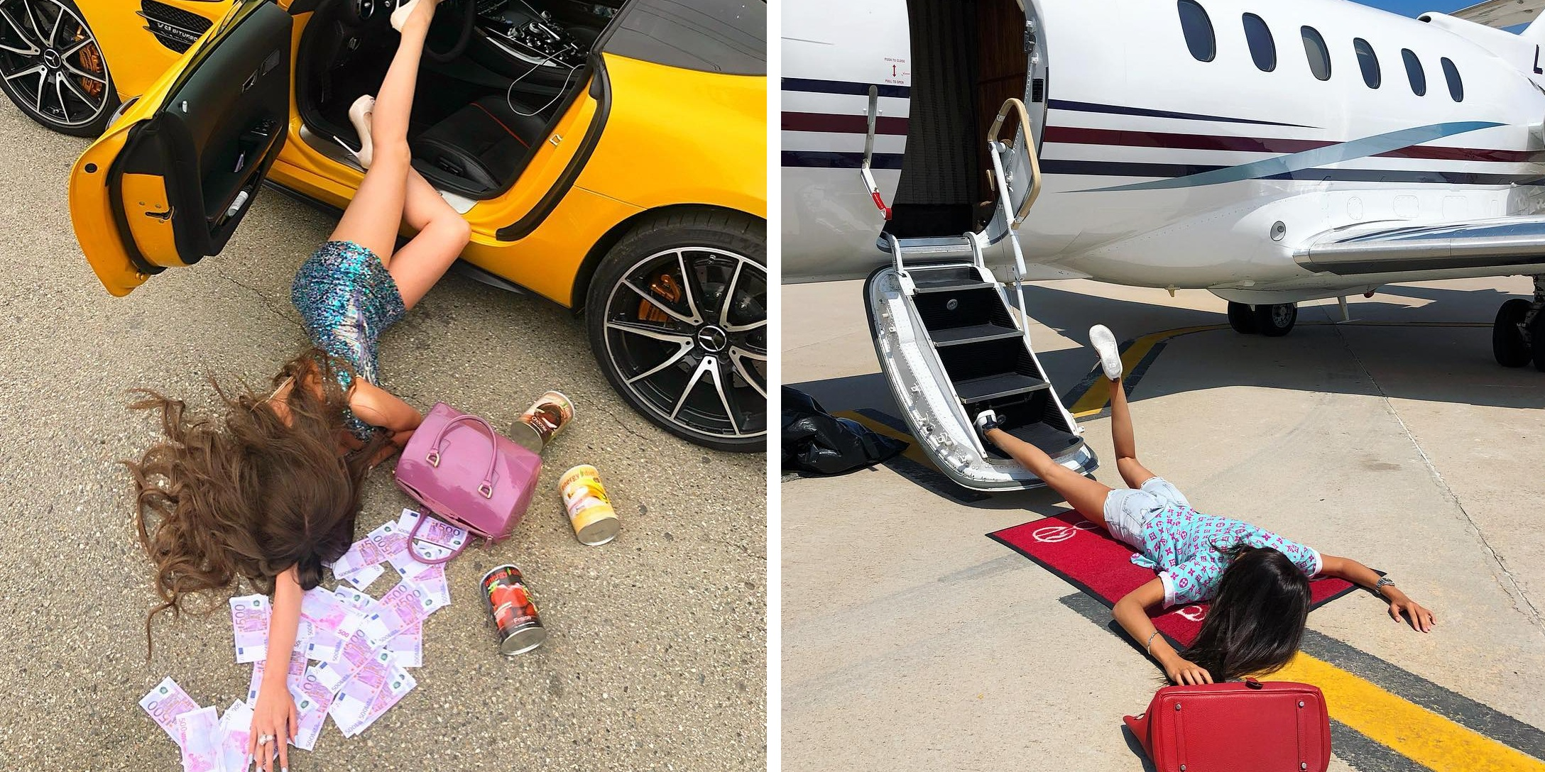 "In New Viral ""Challenge"" People Fall Over Cash and Luxury Items To Flaunt Their Wealth!"